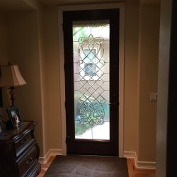 Tall decorative glass door with swirl glass - Your Door Our Glass