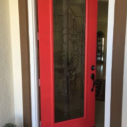 Red Door With Parklane Glass Insert