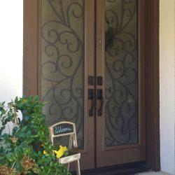 Flowers in front of Rio glass door