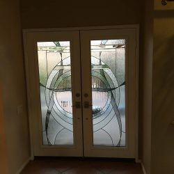 Two white doors with glass design - Your Door Our Glass