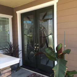 Outside view of two decorative glass doors - Your Door Our Glass