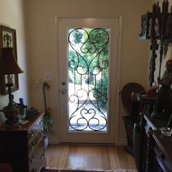 Cluttered front entrance with elegant Tivoli glass door in the background