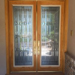 Wooden door with Wallstreet style door glass