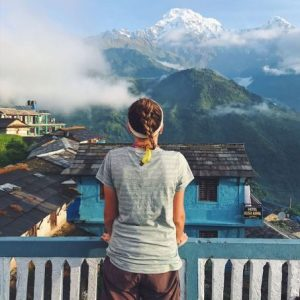 Student enjoys a view of the Himalayas