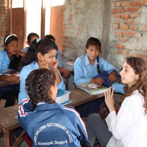 Student teaches a class in Nepal