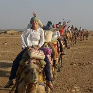 Students on a camel safari