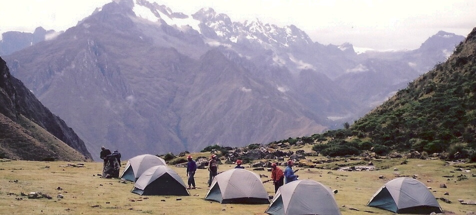 Group camping in tents on a trek in the Andes
