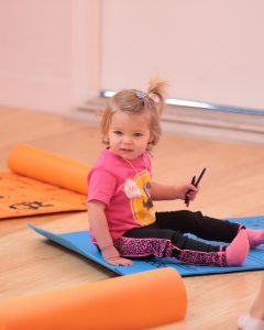 Child on yoga mat
