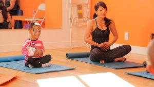 Mom and daughter learning mindfulness